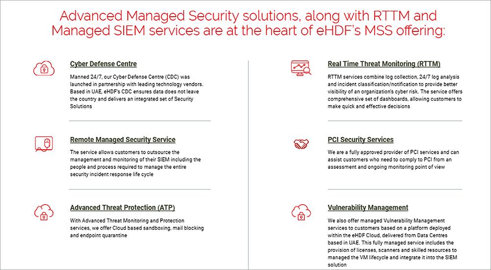 eHDF adds SIEM, RTTM, ATP, DDoS, DLP to managed security services